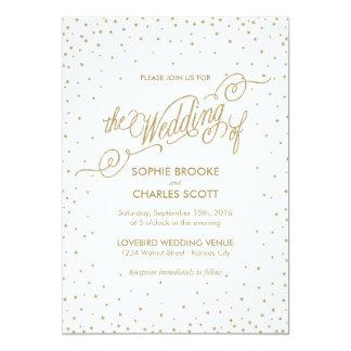 Glitter Gold Stars Fancy Wedding Invitation