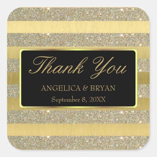 Glitter & Gold Stripes Wedding Thank You Sticker