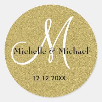 Glitter Gold Wedding Custom Monogram Classic Round Sticker