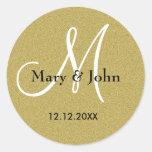 Glitter Gold Wedding Monogram Seals Round Sticker