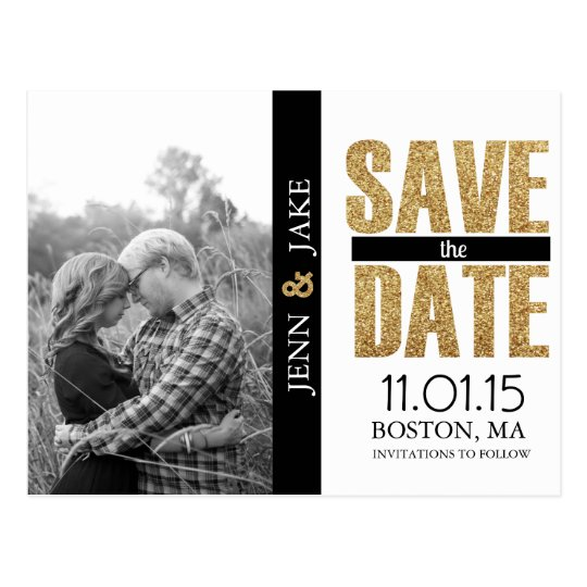 Glitter GoldBlack and White Save the Date Postcard