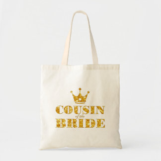 Glitter Golden Cousin of the Bride Budget Tote Bag