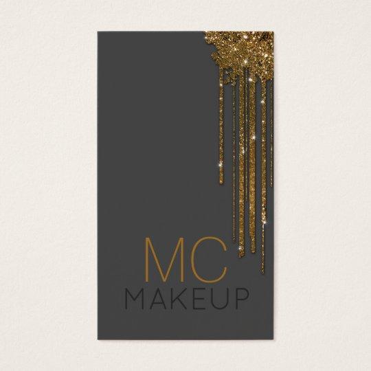 Glitter Golden Polish Flow Makeup Artist Grey Card