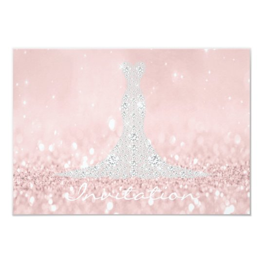 Glitter Gray Pink Diamond Crystals Bridal Dress Card