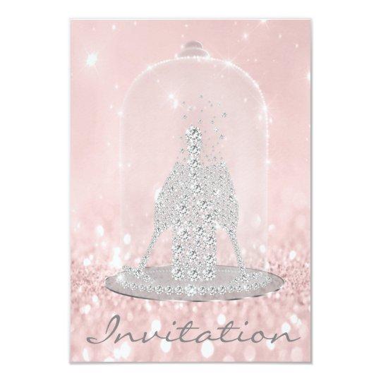 Glitter Gray Pink Diamond Glass Bubbles Champagne Card