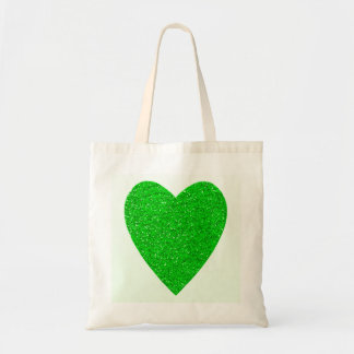 Glitter Green Heart Wedding Tote Bag