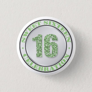 Glitter Green Sweet 16 Celebration Buttons