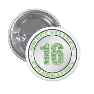 Glitter Green Sweet 16 Celebration Buttons