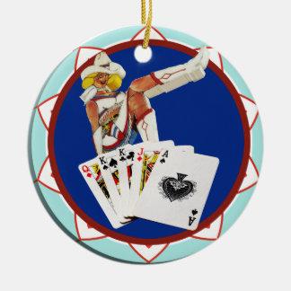 Glitter Gultch Sally Poker Chip Round Ceramic Decoration