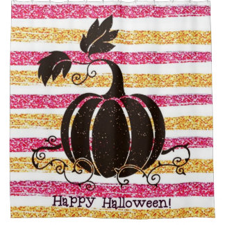 Glitter Happy Halloween Shower Curtain