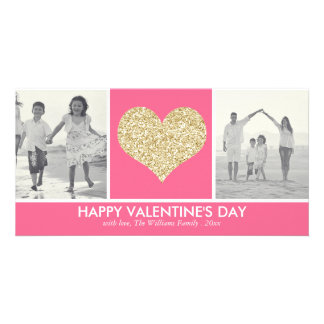 Glitter Heart Valentine's Day Photo Cards