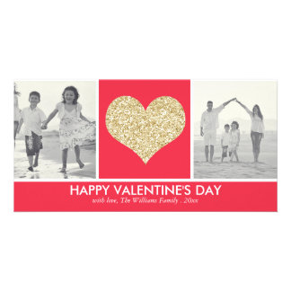 Glitter Heart Valentine's Day Photo Cards