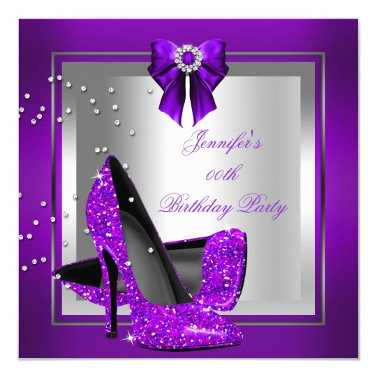 Glitter High Heel Shoe Silver Purple Birthday Card