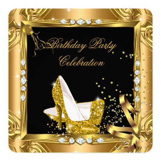Glitter High Heel Shoes Yellow Gold Black Party