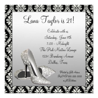 Glitter High Heels Black Damask Birthday Party 13 Cm X 13 Cm Square Invitation Card