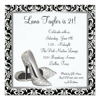Glitter High Heels Black Damask Birthday Party Card