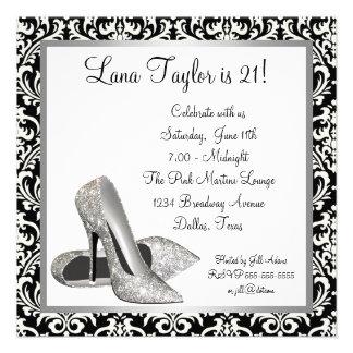 Glitter High Heels Black Damask Birthday Party Personalized Invites