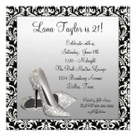 Glitter High Heels Black Damask Birthday Party Personalized Announcements
