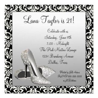 Glitter High Heels Black Damask Birthday Party Personalized Invitation
