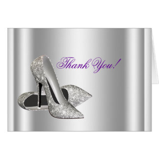 Glitter High Heels Shoes White Thank You Cards Note Card