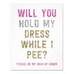 Glitter Hold My Dress While I Pee | Maid of Honour 11 Cm X 14 Cm Invitation Card