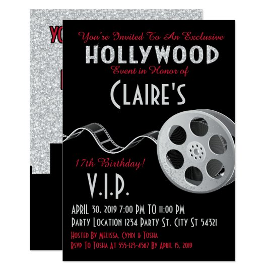 Glitter Hollywood Glam Party Invitations