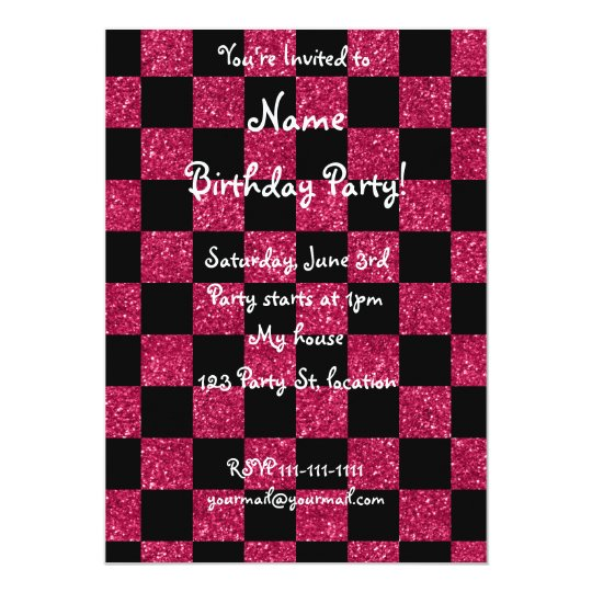 Glitter hot pink and black chequered pattern card