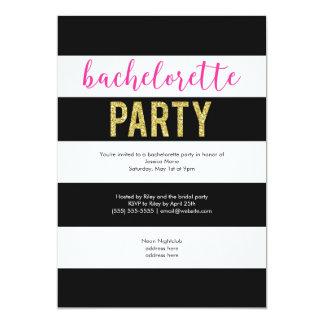 Glitter Hot Pink Black Stripes Bachelorette Party 13 Cm X 18 Cm Invitation Card