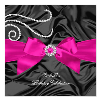 Glitter Hot Pink Diamond Charcoal Black Silk 13 Cm X 13 Cm Square Invitation Card
