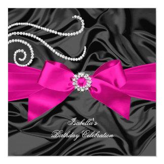 Glitter Hot Pink Diamond Charcoal Black Silk Card