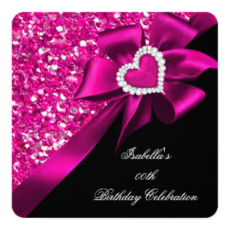Glitter Hot Pink Heart Bow Black Birthday Party Card