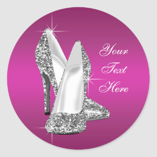 Glitter Hot Pink High Heel Shoe Stickers