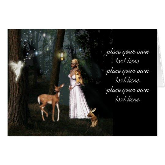 Glitter in the forest -Fairy fantasy card-custom Card