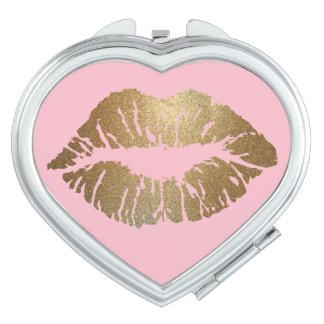 Glitter Kiss Pink Compact Mirror Heart