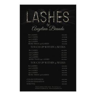 Glitter Lashes Eyelash Extensions Black Price List Flyer