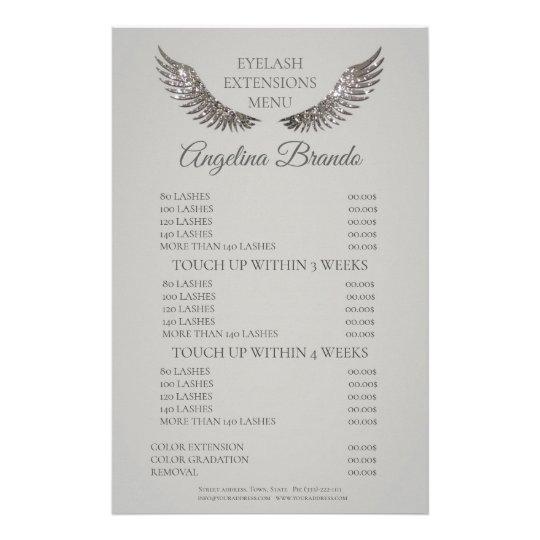 Glitter Lashes Eyelash Extensions Grey Price List Flyer