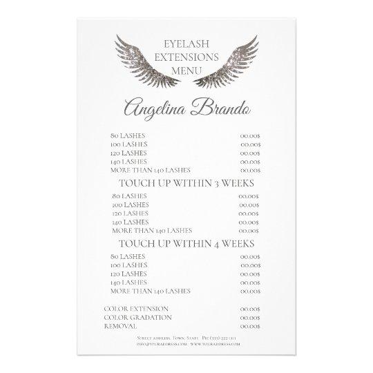 Glitter Lashes Eyelash Extensions White Price List Flyer