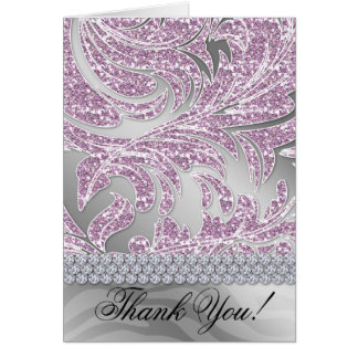 Glitter Leaves Thank You Card Pink Baby Shower