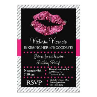 Glitter Lips Kissing Adult Birthday Invitation