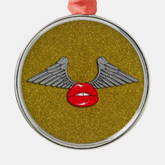 Glitter Lips with Wings Christmas Ornament