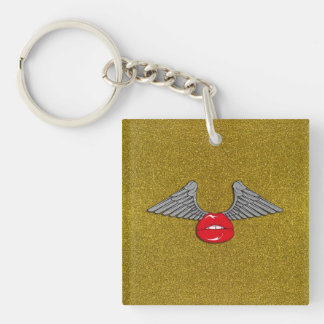 Glitter Lips with Wings Key Ring