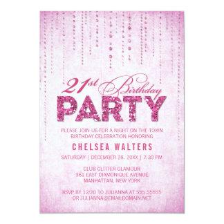 Glitter Look 21st Birthday Party Invitation