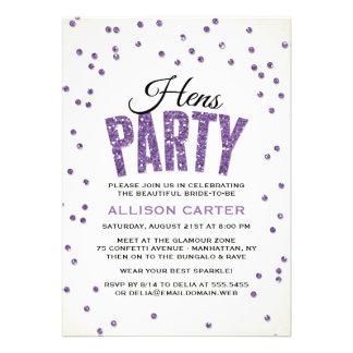Glitter Look Confetti Hens Party Custom Invitations