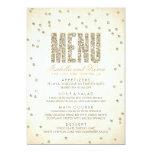 Glitter Look Confetti Wedding Menu Personalised Invitation