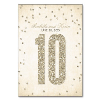 Glitter Look Confetti Wedding Table Numbers - 10 Table Cards