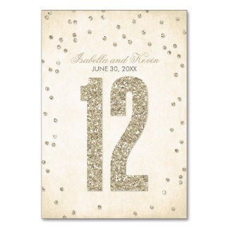 Glitter Look Confetti Wedding Table Numbers - 12 Table Cards