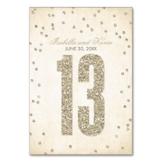 Glitter Look Confetti Wedding Table Numbers - 13 Table Cards