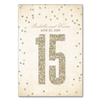 Glitter Look Confetti Wedding Table Numbers - 15 Table Cards