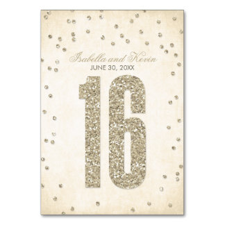 Glitter Look Confetti Wedding Table Numbers - 16 Table Card