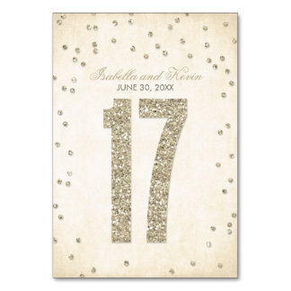 Glitter Look Confetti Wedding Table Numbers - 17 Table Cards